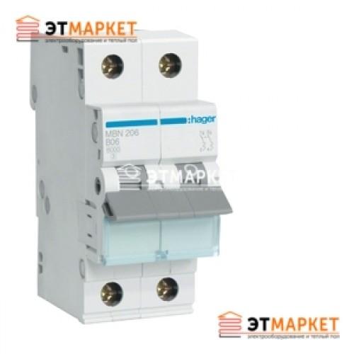 Автоматический выключатель Hager MC206A 6А, 2п, С, 6kA