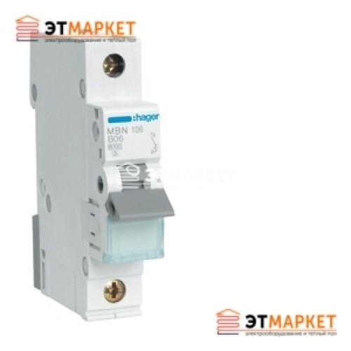 Автоматический выключатель Hager MB106A 6А, 1п, В, 6kA