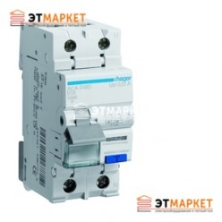 Дифавтомат Hager 1+N, 16A, 30 mA, С, 4,5 кА, AC, 2м