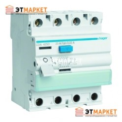 Устройство защитного отключения Hager 4x25 A, 30 mA, A, 4м