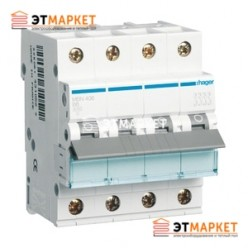 Автоматический выключатель Hager MC406A 6А, 4п, С, 6kA