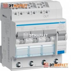 Диффавтомат Hager ADZ360D, 3x(1P+N), 10А, С, С6 кА, A, 30mA