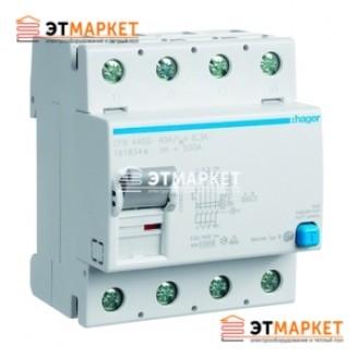 Устройство защитного отключения Hager 4x25A, 30 mA, AC, 4м