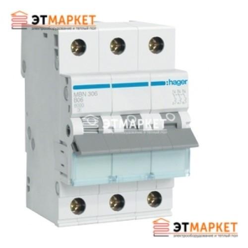 Автоматический выключатель Hager MB306A 6А, 3п, В, 6kA