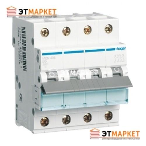 Автоматический выключатель Hager MB406A 6А, 4п, В, 6kA