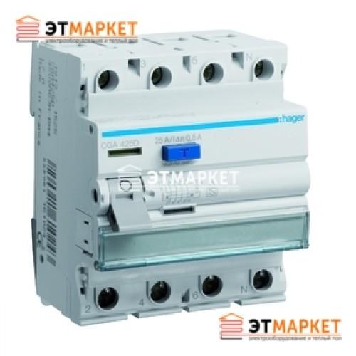 Устройство защитного отключения Hager 4x25 A, 500 mA, A, 4м