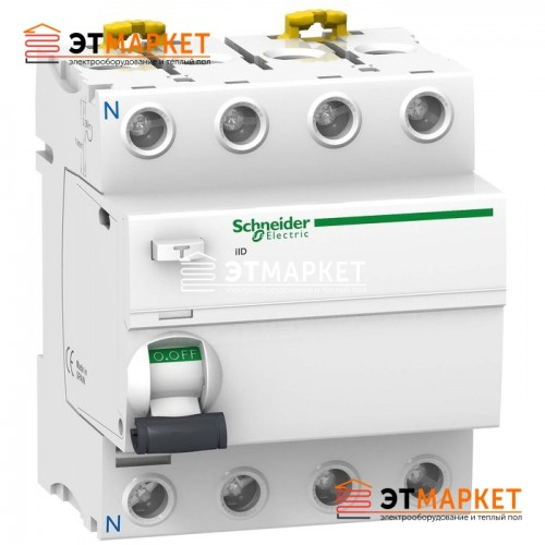 УЗО Schneider Electric iID 4P, 63A, 300 mA, A S