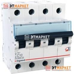 Автоматический выключатель Legrand TX³ 10A, C, 6 kA, 4 п.