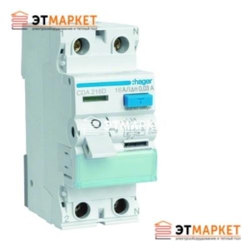 Устройство защитного отключения Hager 2x16 A, 10 mA, A, 2м