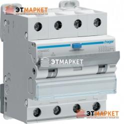 Диффавтомат Hager ADM460C, 4P, 10А, С, С6 кА, A, 30mA