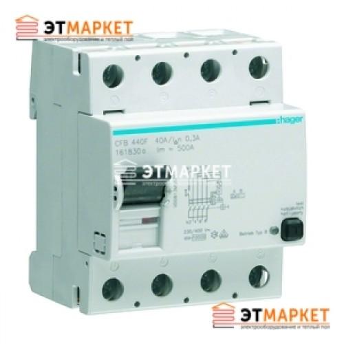 Устройство защитного отключения Hager 4x25A, 300 mA, AC, 4м