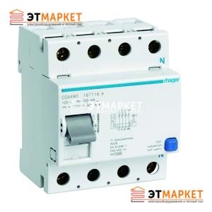 Устройство защитного отключения Hager 4x80 A, 500 mA, A, 4м