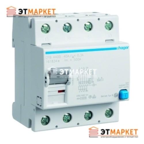 Устройство защитного отключения Hager 4x40A, 30 mA, AC, 4м